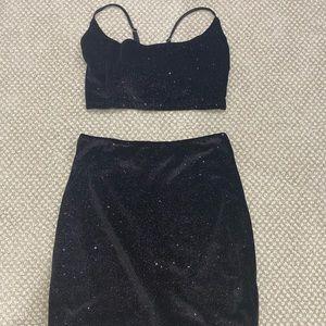sparkly two piece bodycon dress